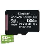 Kingston Micro SD kaart Canvas Select 128GB 1 adapter