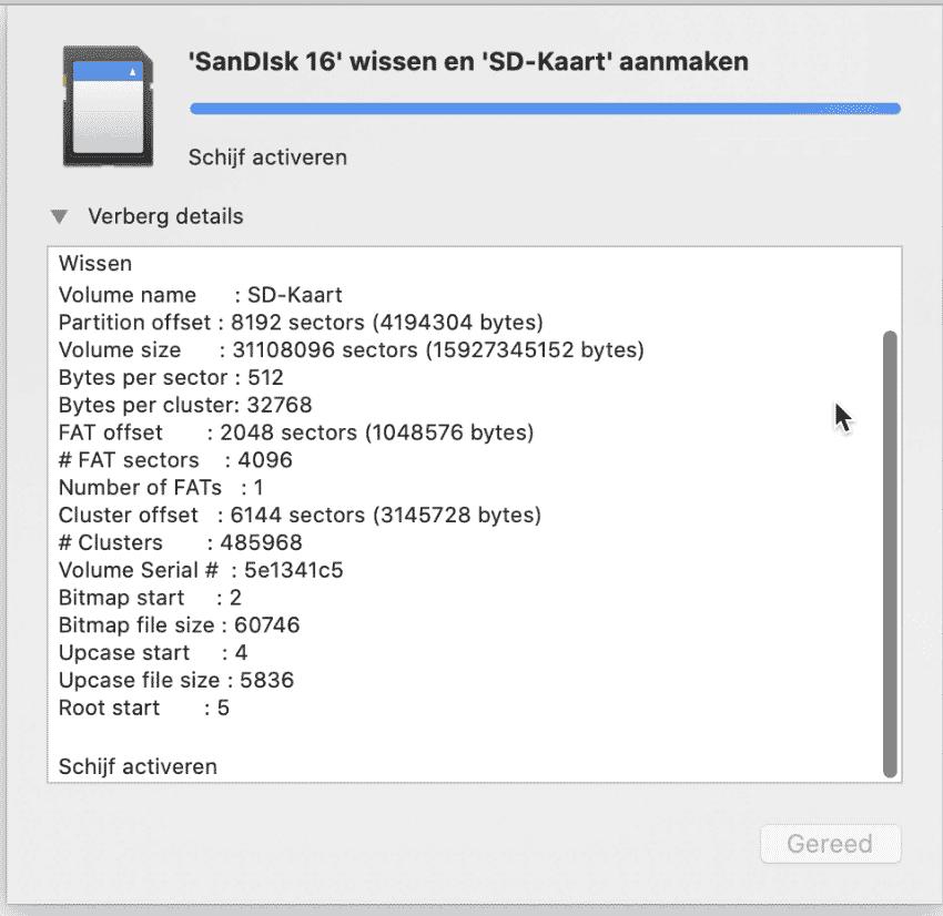 SD kaart formateren mac 4